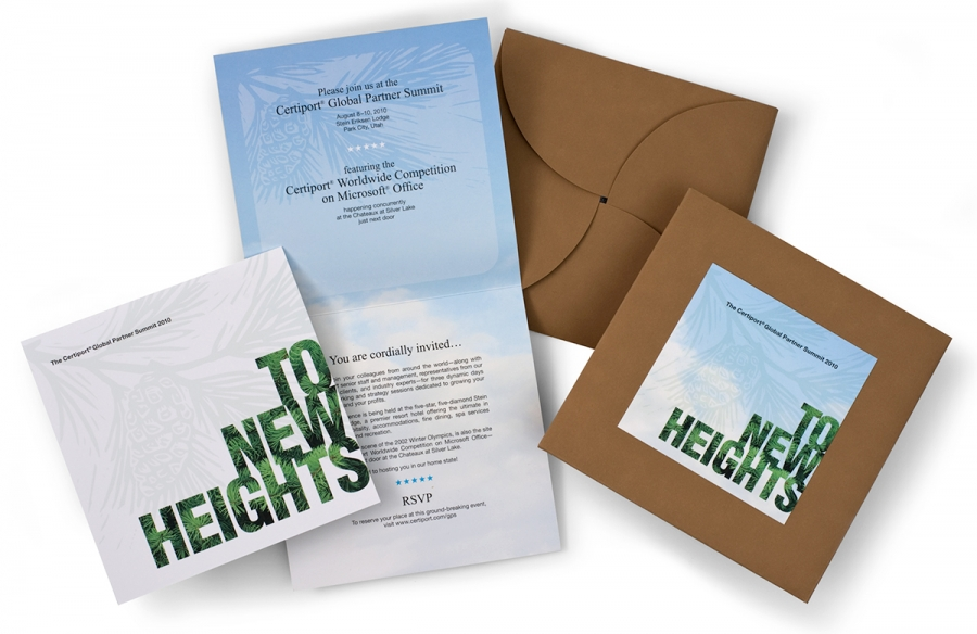 Certiport Invitation Package, including letter, envelope, and postage