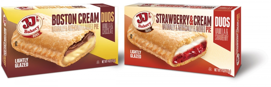 JJ's Bakery Duos, Boston Cream & Strawberry and Cream pies