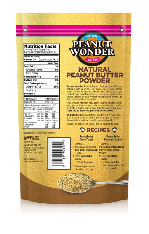 anatural peanut butter powder contains no added sugar or salt and has 85% less fat than traditional peanut butter
