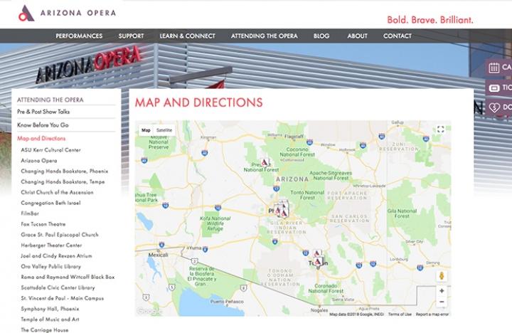 Show Map Of Arizona.Arizona Opera Custom Google Map Philadelphia Collateral Trade